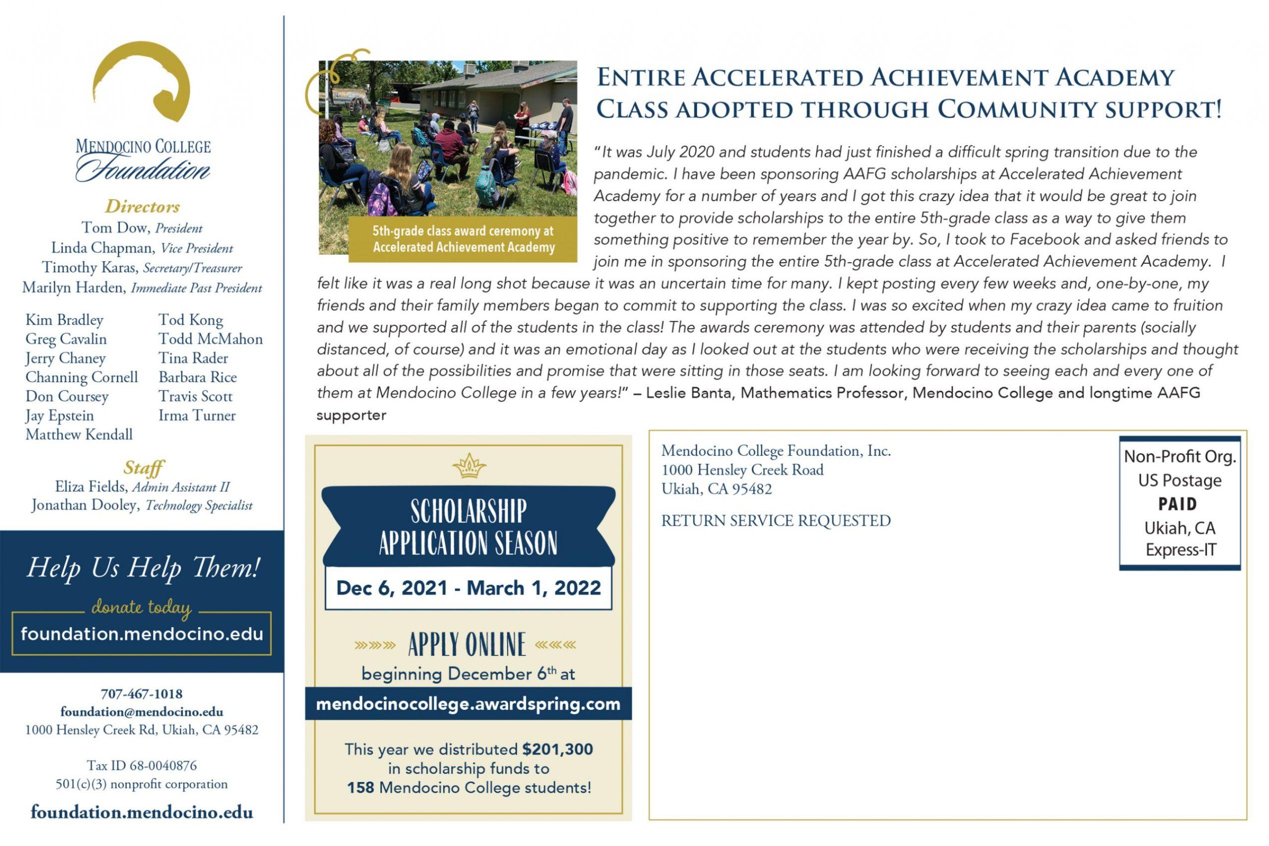 Mendocino College Foundation Newsletter Sept. 2021